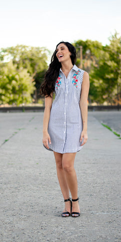 Embroidered Button Down Dress