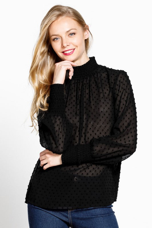 Swiss Dot Blouse Long Sleeve
