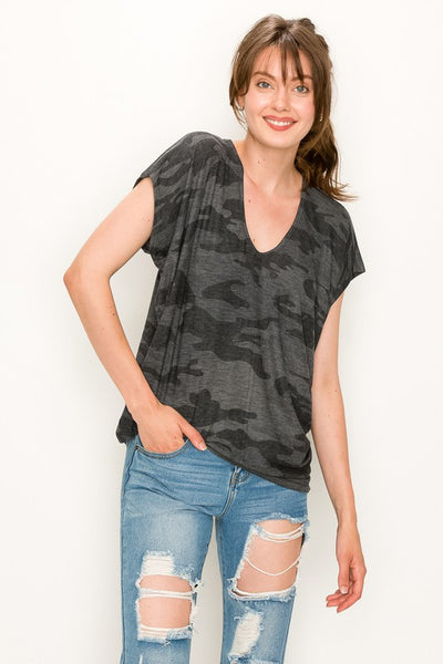 Black Camo Short Sleeve Top