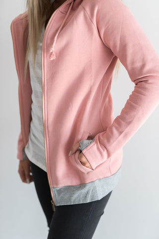 Pink and Grey Zip-Up Hoodie