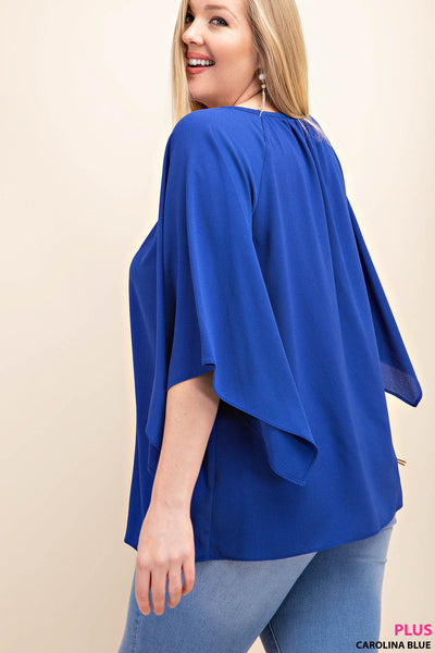 Royal Blue Open Sleeve Top