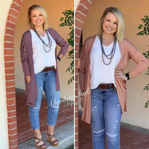 SALE! Striped Pocket Cardigan - ONLY $35!