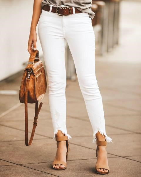 KanCan White Distressed Hem Jeans