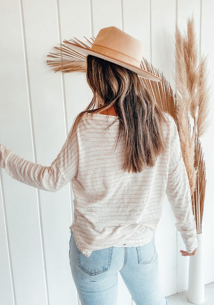 Distressed Striped Long Sleeve Top
