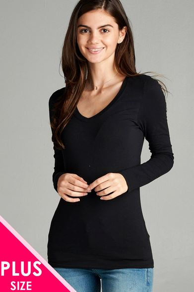 PLUS Long Sleeve V-Neck Top