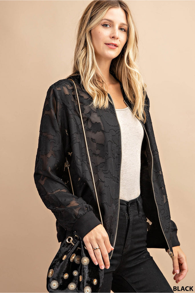 Sheer Floral Lace Bomber Jacket