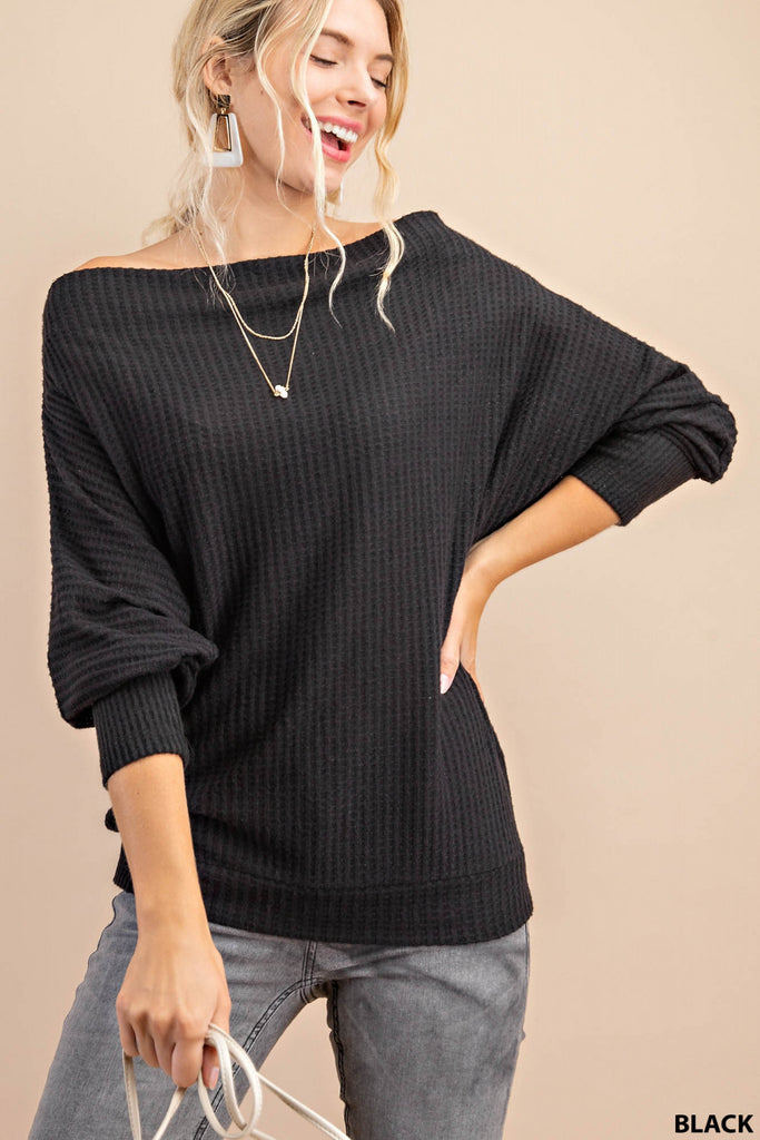 Waffle Knit Cowl Neck Sweater