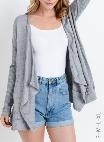 Brushed Fabric Asymmetrical Cardigan