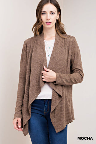 Mocha Ribbed Cardigan