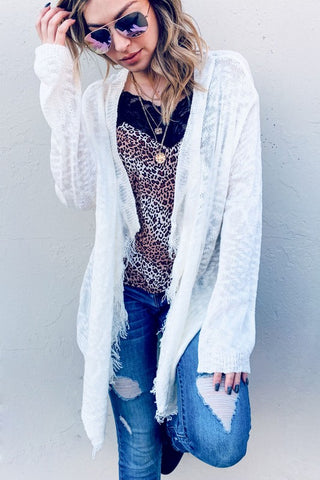 Textured Fringe Cardigan