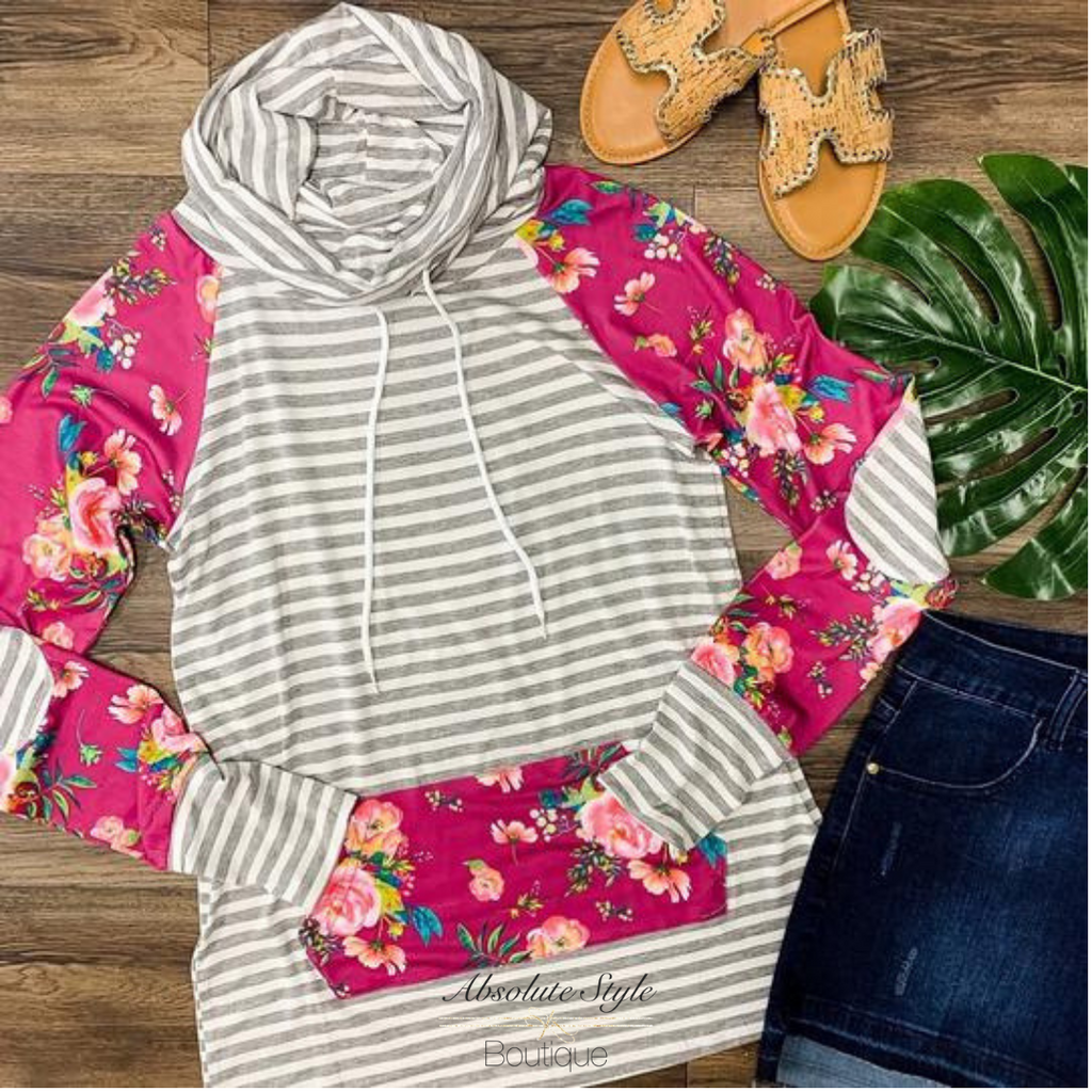 Cowl Neck Floral Pullover