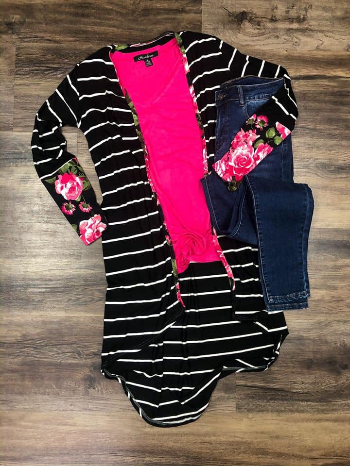 Floral Striped High Low Cardigan