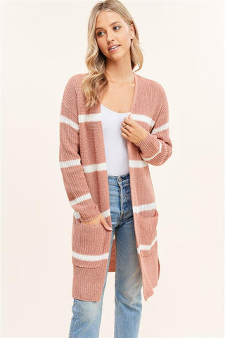 Striped Cardigan w/ Pockets