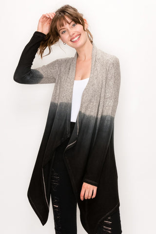 Brushed Dip Dye Cardigan