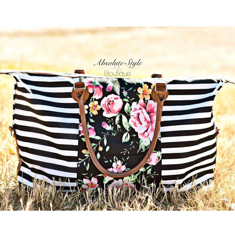 Stripes and Floral Weekender Bag