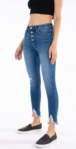 KanCan Distressed Denim Shark Bite Hem