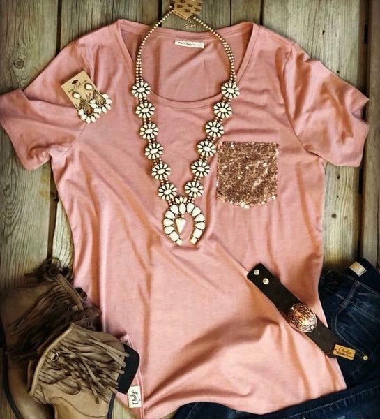 Sequin Pocket Top