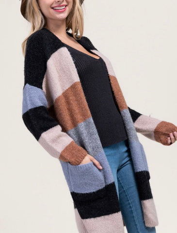 Colorblock Cardigan with Front Pockets