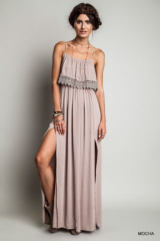 Detailed Overlay Maxi Dress