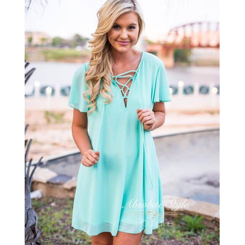Lace Front Short Sleeve Mint Dress