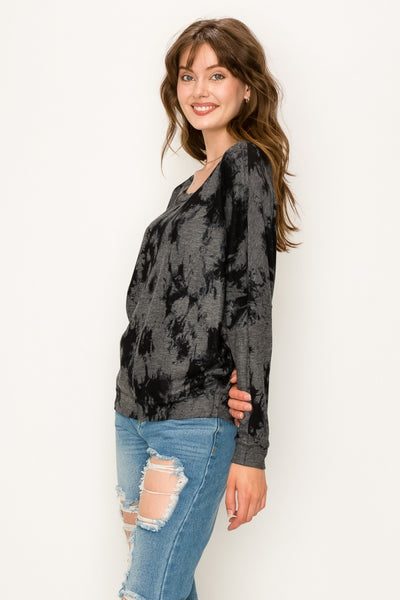 Black Tie Dye Long Sleeve Pullover