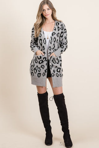 Grey Leopard Cardigan with Pockets
