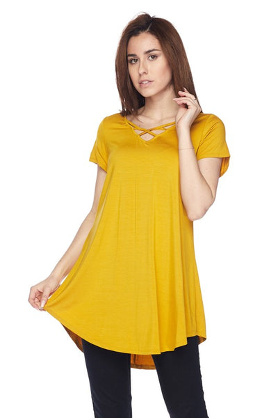 Twisted Neckline Tunic Top