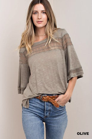 Olive Slub Top with Lace Detail