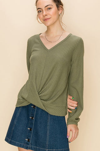 Front Knot Waffle Knit Long Sleeve