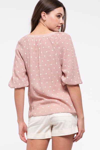 Patterned Bubble Sleeve Top