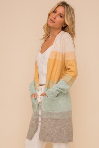 Long Sleeve Colorblock Cardigan