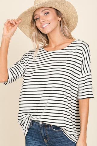 Striped Half Sleeve Top
