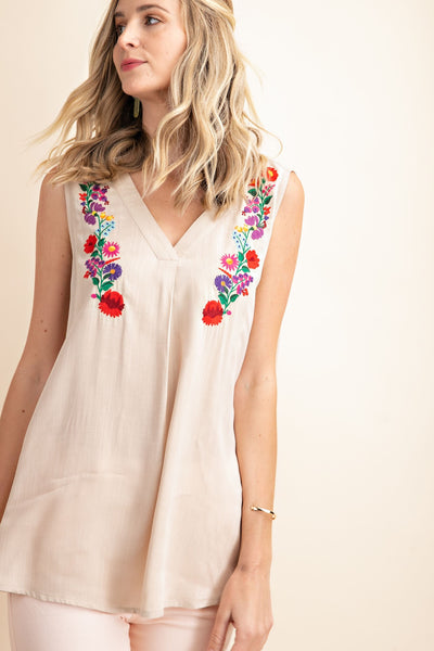 Embroidered V-Neck Tank