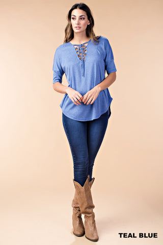 Lace-Up Tie Neckline Top