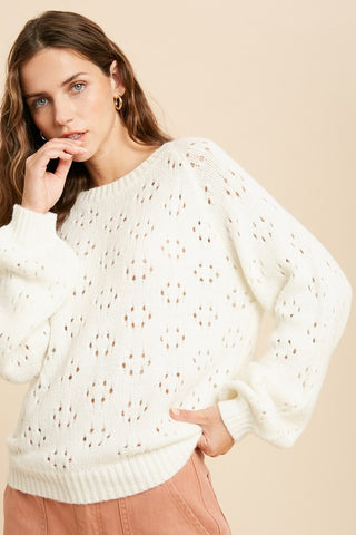 Cream Open Knit Sweater
