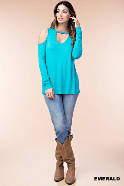 50% OFF! Cold Shoulder Long Sleeve Keyhole Neckline