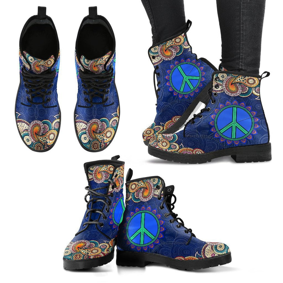 Peace Fractal Mandala Handcrafted Boots