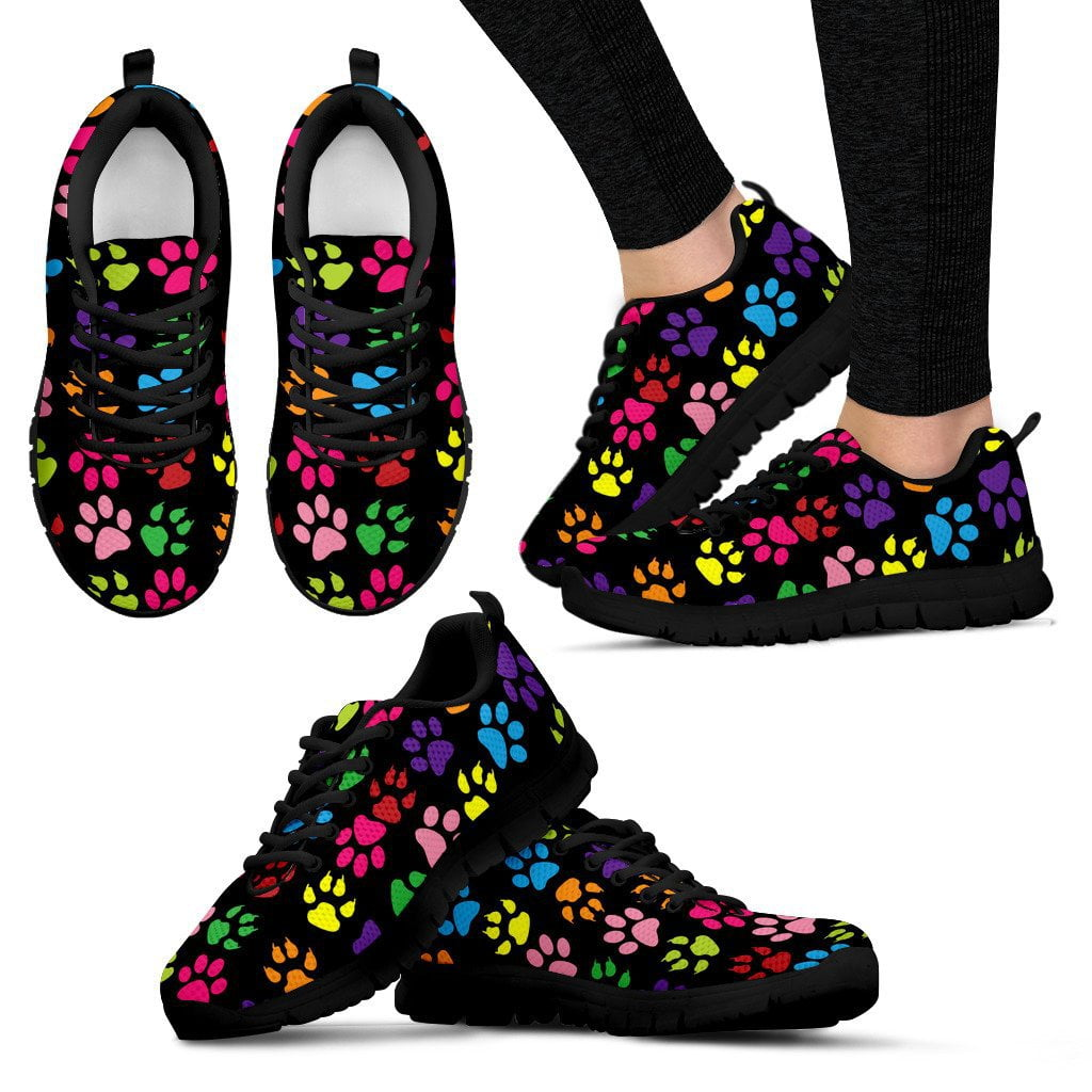 Mixed Colors Paw Prints Women's Sneakers