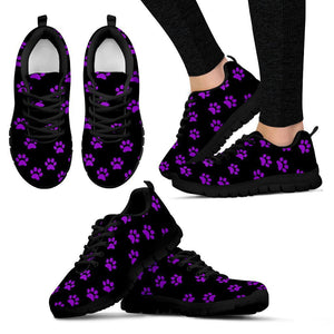 Purple Pawprints Black sneakers
