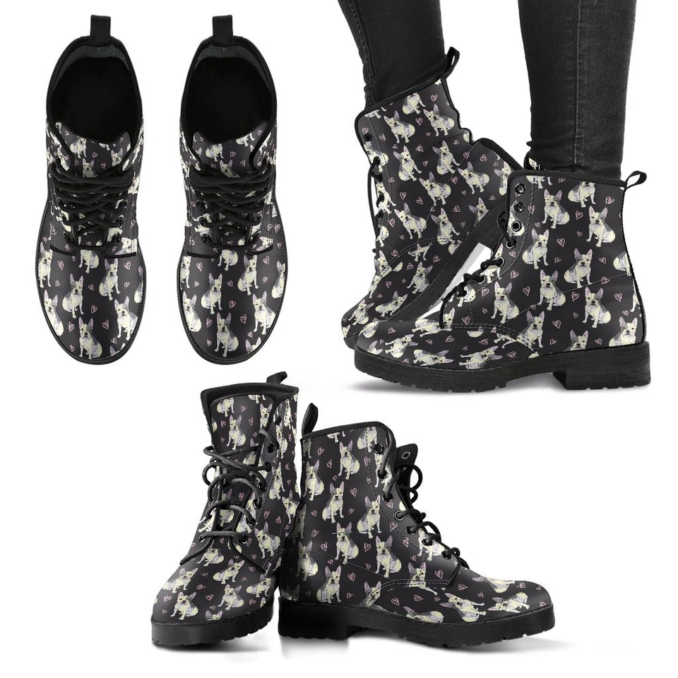 French Bulldog - Women's Leather Boots
