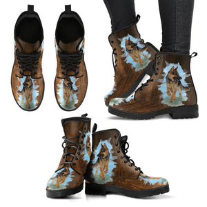German Shepherd Design Ladies Leather Look Boots