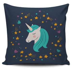 Midnight Blue Starry Night Unicorn Pillow Cover