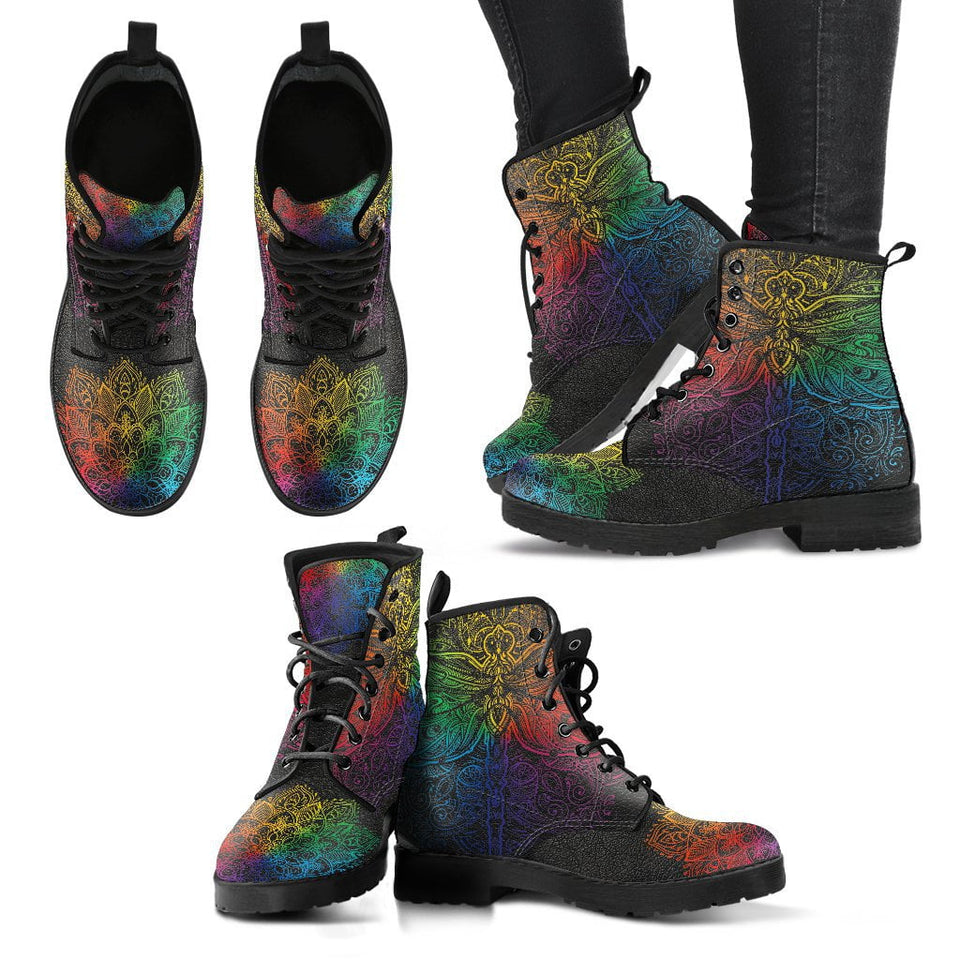 Colorful Dragonfly Mandala Handcrafted Boots