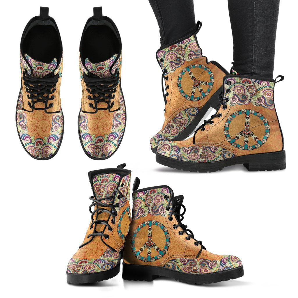 Peace Mandala Brown Handcrafted Boots