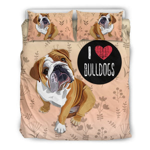 I Love Bulldogs Bedding Set for Bulldog Lovers