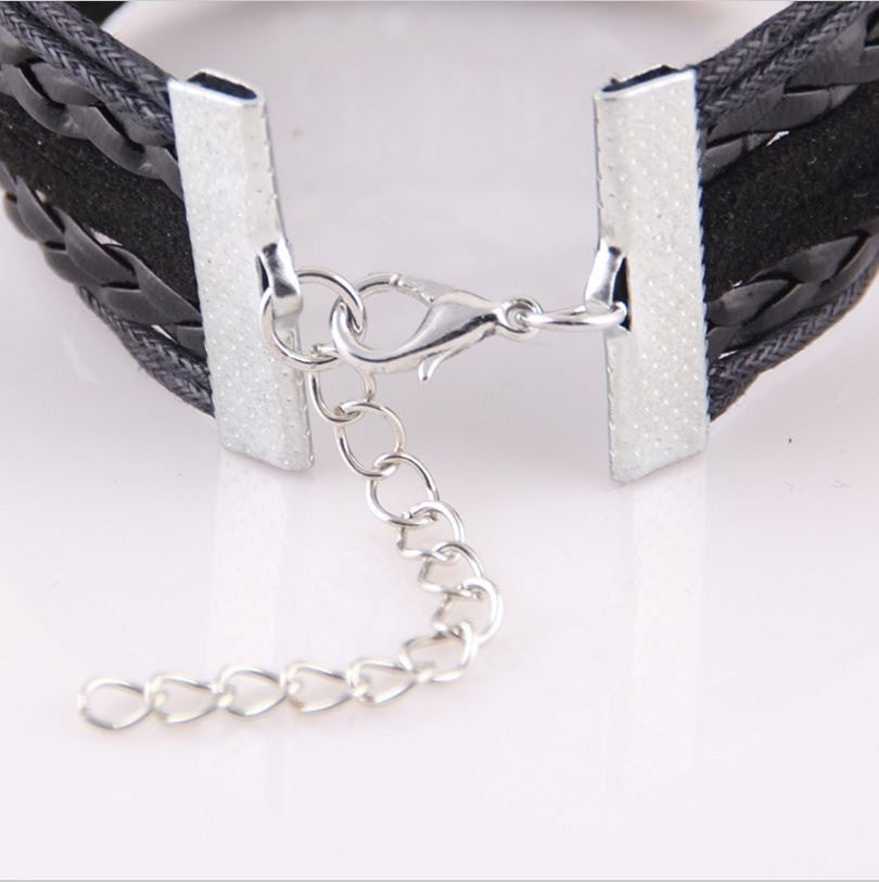 Infinity Love Leather Pug Mom Bracelet With Dog Paw Charm