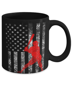 American Flag Baseball Batter Mug 11oz