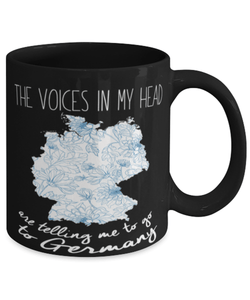 "Funny Germany mug - ""The voices in my head"" - Love Germany - Germany vacation - 11oz coffee mug - Christmas stocking filler - Black Friday sale"