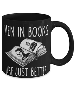"Funny girly bookworm mug ""Men in books are just better"" - Blind date with book - Book lovers - Bookworm - Boys in books - 11oz 15oz coffee mug"