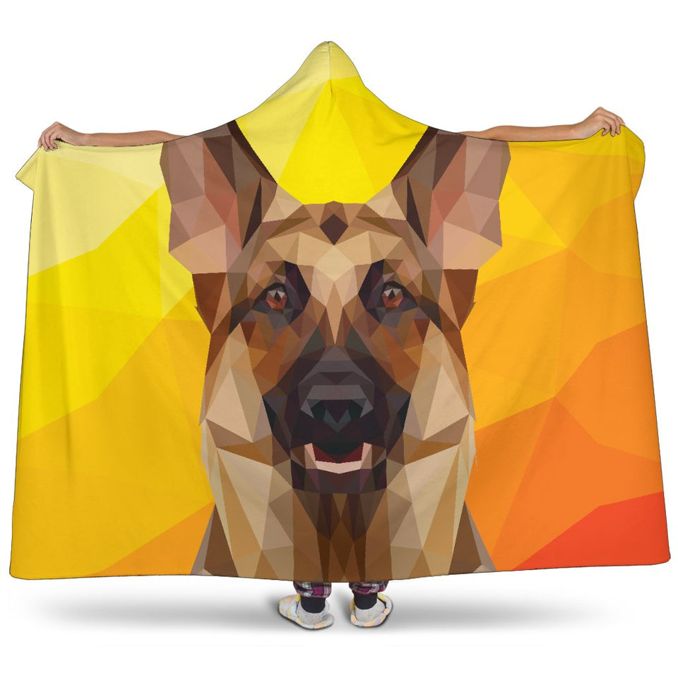 German Shepherd Modern Art Hooded Blanket